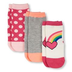 Baby Girls Toddler Rainbow Graphic, Solid And Dot Print Midi Socks - Multi - The Children's Place Kids Socks, Baby Socks, Big Fashion, Baby Girls, Toddler Girls, Children's Place, Dots, Rainbow, Clothes