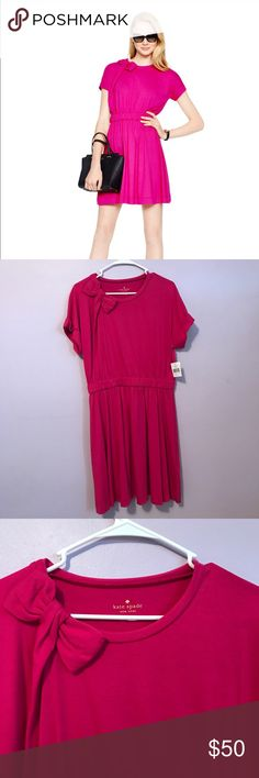 Kate Spade Cotton Jersey Dress Bow Pink Drape Adorable dress from Kate Spade in a size Large. kate spade Dresses Midi