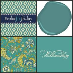 "It's Friday --- #ColorFixFriday! Turquoise is hot today, just like it was cool when Thomas Jefferson was a ""young Turk."" Here we've paired @Pamela Toolan Grand Palampore in Peacock with Mayo Teal from the WILLIAMSBURG @Benjamin Moore paint collection!"