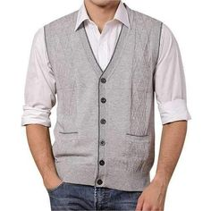 Mens Warm Woolen Single Breasted Cardigan Sweater Vest