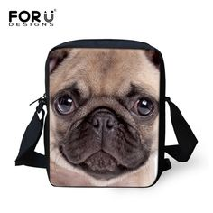 FORUDESIGNS Pug Bulldog Messenger Bags Women Men Crossbody Bag Casual Purses Handbags for Boys Girls Shoulder Bag Bolsos Mujer -- Posetite ssylku izobrazheniya boleye podrobnuyu informatsiyu.
