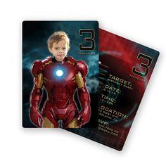 DIGITAL, Printable, DIY Iron Man Birthday Invitation, Custom with Photo