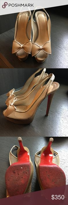 Christian Louboutin sling back heal Size 71/2 very comfortable sling back heal. Nude color goes with anything! Used condition, slight heal damage which could be repared Christian Louboutin Shoes Sandals