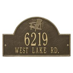 Personalized Adirondack Chair Arched Nautical Address Plaque - Two Lines. Available now at the best price only at www.everythingnautical.com #Nautical #Home #Decor #Gifts