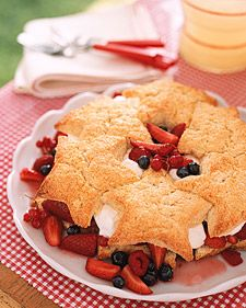 Star-Spangled Shortcake  Salute Old Glory while putting a new spin on classic summer fare. Tossed with sugar, four fruits -- raspberries, blueberries, strawberries, and red currants -- create a blaze of red and blue