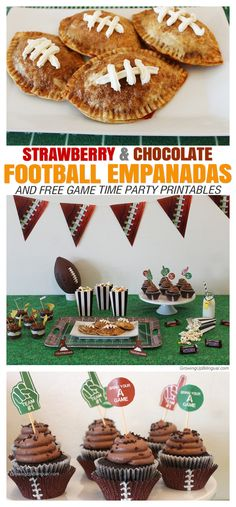 Strawberry and Chocolate Football Empanadas And Free Game Time Party Printables #BigTimeTreats #ad