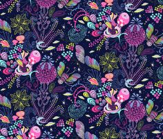 Design for the Fabric8 contest by Robert Kaufman and Spoonflower: Le Jardin Cosmique  fabric by irrimiri on Spoonflower - custom fabric #illustration #miriambos #surfacepatterndesign #pattern #patterdesign