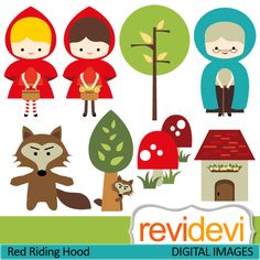 Little Red Riding Hood - clipart - Clip Art and Digital paper set Red Riding Hood Story, Red Riding Hood Party, Little Red Ridding Hood, Wolf Clipart, Clip Art, Big Bad Wolf, Red Party, Conte, Paper Dolls