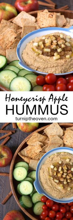 This honeycrisp apple hummus is the perfect kid-friendly, quick and healthy dip. Apples, cinnamon, and almond butter are blended into traditional hummus for a fantastic new flavor that's also vegan and gluten-free! Fruit Recipes, Apple Recipes, Snack Recipes, Vegetarian Recipes, Cooking Recipes, Healthy Recipes, Healthy Options, Healthy Dips, Healthy Hummus