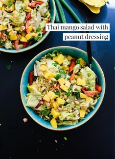 Thai Mango Salad with Peanut Dressing - Cookie and Kate; optional add in cold salt baked sole fish and green beans; slice mango thin on mandoline, cherry Tom, cukes Sin Gluten, Healthy Salads, Healthy Eating, Healthy Food, Thai Mango Salad, Thai Salat, Cilantro, Bowls, Vegetarian Recipes