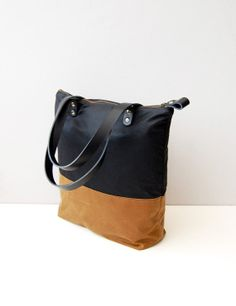 Black & tan Waxed canvas tote bag with zipper and leather straps on Etsy, $90.00