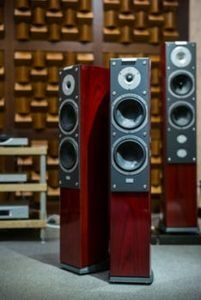 Red Tower Speakers - Many people prefer hidden in ceiling speakers but nothing beats the sound of the tower enclosure! Audio Visual Installation, Home Theater Installation, Home Theater Sound System, Home Theatre Sound, Home Audio Speakers, Tower Speakers, Google Play, Best Outdoor Speakers, Lighting Automation