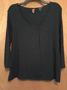 2a2c40d522d2d8 Talbots Women Blouse Top T-Shirt Size XLp Black Long Slv Knit Stretch Rayon  Bld