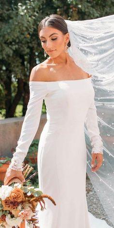 36 Totally Unique Fashion Forward Wedding Dresses ❤ fashion forward wedding dresses simple off the shoulder with long sleeves edenluxe #weddingforward #wedding #bride