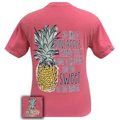Details: Be like a Pineapple....Stand Tall, Wear a Crown and Be Sweet On The Inside. This garment is a pre-shrunk, 100% ringspun cotton, 6.1-ounce heavyweight tee with selfbound neck and armhole trim.