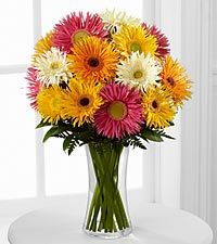 Flowering Confetti Daisy Bouquet - 14 Stems - VASE INCLUDED