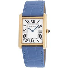 Cartier Women's Vintage Cartier Tank Solo Large Watch, 27.5mm - Blue (6 018 470 LBP) ❤ liked on Polyvore featuring jewelry, watches, blue, white faced watches, stainless steel wrist watch, blue jewelry, cartier watches and stainless steel watches