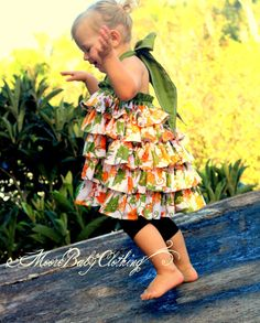 ruffle halter dress/top - love the colors Little Girl Fashion, Toddler Fashion, Toddler Outfits, Kids Outfits, Kids Fashion, Ruffle Fabric, Ruffle Dress, Baby Dress, Little Dresses
