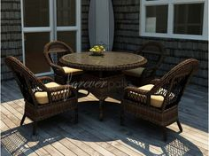 Forever Patio 5 Piece Leona Wicker Round Dining Package - Home and Garden Design Ideas