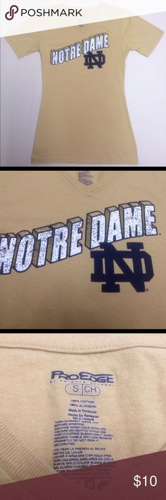 Notre Dame Irish - Women's V-neck 🍀 Notre Dame Fighting Irish   Size Women's Small  Get it in time for March Madness! Like new condition ProEdge Tops Tees - Short Sleeve