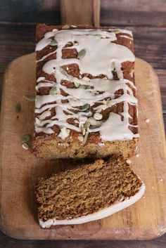 Pumpkin Bread Recipe with Maple Icing uses coconut oil and whole wheat pastry flour | thevintagemixer.com