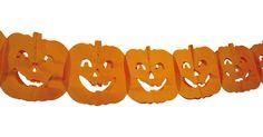 Guirnalda con calabazas ideal para Halloween: Guirnalda de 4 m. Motivos de calabazas naranjas. Guirnalda perfecta para decorar tu casa en Halloween.