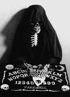 Ouija board and skeleton