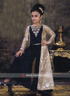 Satin Silk Girls Palazzo Suit with Jacket Kids Party Wear Dresses, Wedding Dresses For Kids, Dresses Kids Girl, Kids Dress Wear, Indian Dresses For Kids, Indian Kids Wear, Saree Designs Party Wear, Mommy Daughter Dresses, Kids Ethnic Wear