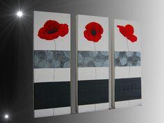 Tableau peinture tryptique rouge fleurs coquelicots pau-art