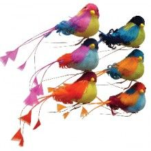 Artificial birds for christmas tree    Brightly colored