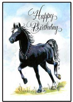 Happy Birthday Horse Card van hilink op Etsy