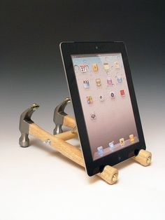 Repurposed tools iPad stand