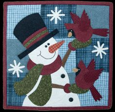 "January Flurry Friends Little Quilt Pattern by The Wooden Bear at KayeWood.com. Approximately 12"" x 12"" finished.  This snowman makes friends with the birds and snowflakes. On a 9 patch background.  Add letter blocks, make into a calendar. http://www.kayewood.com/January-Flurry-Friends-Little-Quilt-Pattern-by-The-Wooden-Bear-WB-FLFL.htm $7.50"