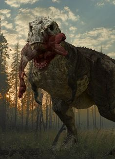 Tyrannosaurus; Late Cretaceous (67 - 66 Ma); Theropod; Discovered by Barnum Brown, 1900-1902; Described by Osborn 1905; Artwork by Herschel-Hoffmeyer on DeviantArt