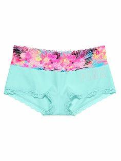 Lace Trim Boyshort Panty PINK