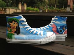 Lilo & Stitch Cartoon Shoes for Kids/Adult Hand Painted High Top Canvas Shoes Kids Sneakers, High Top Sneakers, Kid Shoes, Me Too Shoes, Cartoon Shoes, Painted Converse, Disney Outfits, Disney Clothes, Disney High