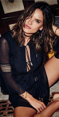 Who made Alessandra Ambrosio's black dress?