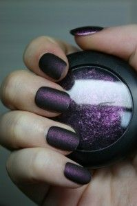DIY: Matte Nail Polish  cool nail polish, doing it yourself AND using up old eye shadow in those crazy colors that simply are not flattering to any living being but would look great on your nails.