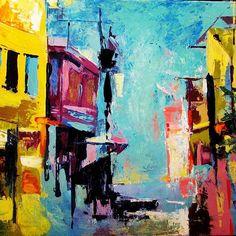 """Venetian canal"" original painting #venice #venetian #venetiancanal #italy #artoftheday #art #artist #artwork #abstract #painting #acrylic #paletteknife #paletteknifepainting #paletteknifeart #art_help #art_spotlight #art_sharing #art_support"