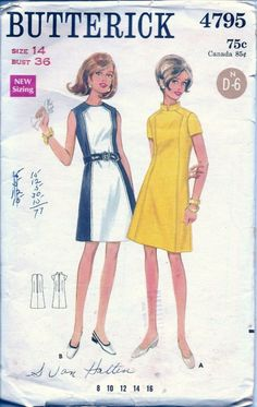 Vintage Sewing Patterns 1960s Dress Butterick 4795 by TenderLane