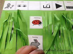 In the Tall, Tall Grass ideas...targets sentence expansion, spatial concepts, vocab, adjectives, as well as fine motor skills (ie cutting). Fun idea for the little ones!