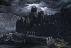 """Innsmouth Harbor from """"The Shadow Over Innsmouth"""" by Russell Smeaton."""