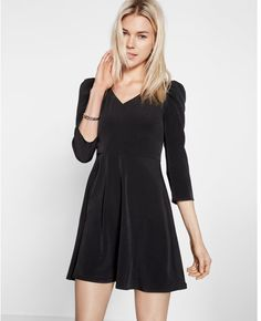 Puffed Shoulder Fit And Flare Dress Black Women's 14 Lil Black Dress, Perfect Little Black Dress, Dress Outfits, Fashion Dresses, Style Challenge, Flare Dress, Fit And Flare, Clothes For Women, Women's Clothes