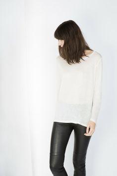 white shirt + leather pants