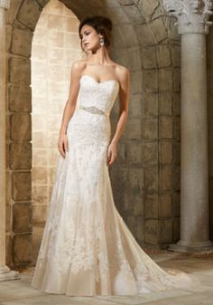Delicate Beading on Embroidered Appliqués Mori Lee Bridal Wedding Dress | Morilee
