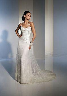 Junoesque Long Sheath/ Column Halter Satin Sweep/ Brush Train Wedding Gowns - 1300251220B - US$233.79 - BellasDress