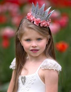 Aspen Silver + Coral First Birthday Crown Flower Headband - Cake Smash - Photography Prop - Dress up Cake Smash Photography, Photography Props, Diy Headband, Crown Headband, First Birthday Crown, Christmas Headpiece, Kids Photo Props, Hair Garland, Princess Gifts