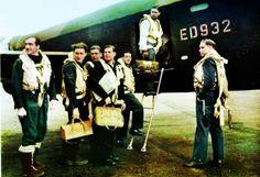 The crew board their Avro Lancaster, ED932/G, for the Dams raid. Left to right: Flight Lieutenant R D Trevor-Roper DEM; Sergeant J Pulford; Flight Sergeant G A Deering RCAF; Pilot Officer F M Spafford DFM RAAF; Flight Lieutenant R E G Hutchison DFC; Wing Commander Guy Gibson; Pilot Officer H T Taerum RCAF.