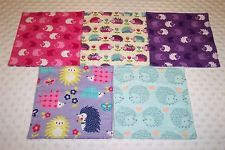 Hedgehogs Baby Girl Wash Cloths Baby Wipes Reusable Double Flannel Handmade