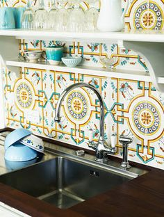 colorful kitchen tile!
